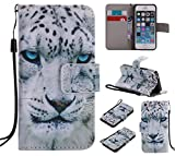 Nancen Apple iPhone 5 / 5S / SE (4,0 Zoll) Hülle/Handyhülle, Painted Tier PU Leder Tasche Schutzhülle Case Lederhülle Flip Cover mit Standfunktion [Weiß Leopard]