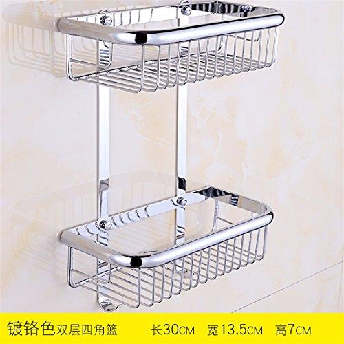 Salbei Dusche (STAZSX Europäische Kupfer Bad Toilette Bad Dusche Korb Ecke Fachregale Metall-Anhänger, Chrom Doppelhaken 30)