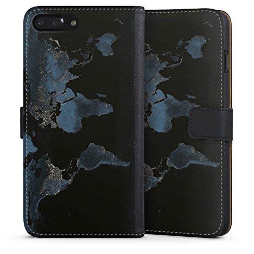 Apple iPhone 7 Plus Silikon Hülle Case Schutzhülle World Map Weltkarte Reisen Sideflip Tasche schwarz