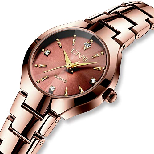 Damenuhren Damen Wasserdichte Roségold Mesh Uhr Einzigartiges Design Analoge Quarz Armbanduhren für Frauen Edelstahlband Luxus Business Kleid Uhren mit Drehendes Diamant Zifferblatt (Brown 1) (Uhren Einzigartig Damen)
