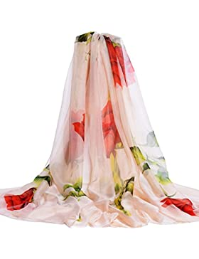 LAIDAGE Las Mujeres De Moda único De Moda Lindo Colorido Suave Seda Sedoso Protección Solar Chales