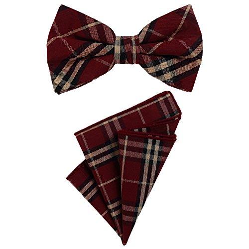 DonDon Noeud papillon homme 12 x 6 cm avec pochette de costume colorée assortie 23 x 23 cm tous deux en coton à carreaux