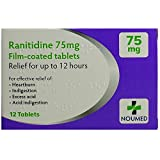 72 (6 x 12) Ranitidine Tablets for Indigestion and Heartburn Relief - 75mg Film-Coated Tablets