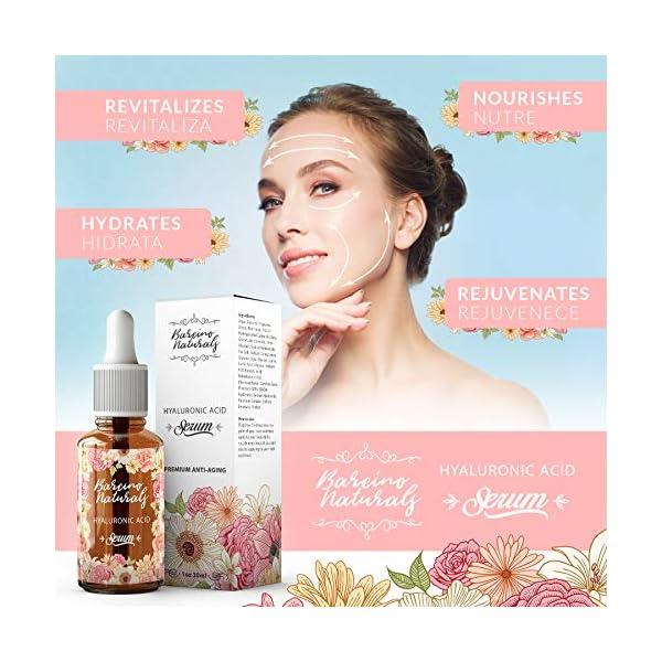 Serum Facial Acido Hialuronico Puro 100% Antiedad Natural Suero Hidratante Antiarrugas Antimanchas Piel Cara – Contorno de Ojos Antibolsas Antifatiga Ojeras Cuello Escote Mujer Hombre Vegano 30ml