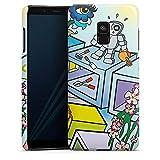 DeinDesign Samsung Galaxy A8 Duos 2018 Hülle Premium Case Cover Comic Roboter Cube