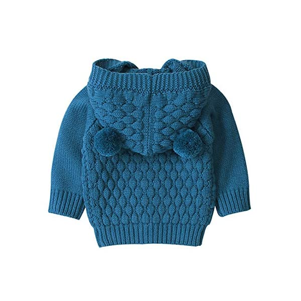 Borlai 3-24M Bebé De Punto De Abrigo Lindo Oído Con Capucha Suéter Chaqueta Casual Cardigan Outwear para Niño 3