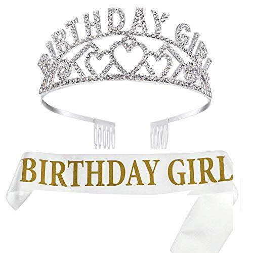 GOODJING Birthday Girl Tiara krone Geburtstag Mädchen Glitter Krone Strass Kristall Dekor Stirnband mit Geburtstag Mädchen Schärpe Birthday Girl Schärpe Weiß (Tiara Geburtstag Girl)