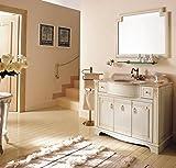 MOBILIA DA BAGNO ROYAL - IN LEGNO MDF con lavabo in CERAMICA, TOP PREGIATO IN TRAVERTINO con specchiera a cornice