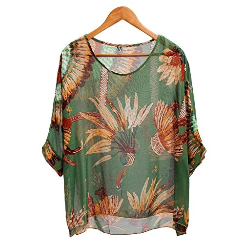 Ishua 1pc Bohemian Hippie Oversized Batwing Sleeve Chiffon Blouse Loose Off Shoulder Shirt T-Shirt Tops Blouse