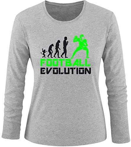 EZYshirt® Football Evolution Damen Longsleeve Grau/Schwarz/Neongr