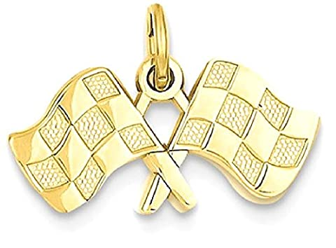 IceCarats 14k Yellow Gold Racing Flags Pendant Charm Necklace Sport