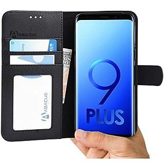 Abacus Galaxy S9 Plus Hülle, Tasche für Galaxy S 9 Plus Brieftasche Ledertasche mit Ständer. Fächern für Karten Bargeld, Klapphülle Galaxy S9 Plus Schutzhülle - Schwarz