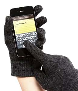 winterfinger Unisex Touchscreen Handschuhe aus Lammwolle für Smartphones und Tablets, Einheitsgröße, nero/anthrazit