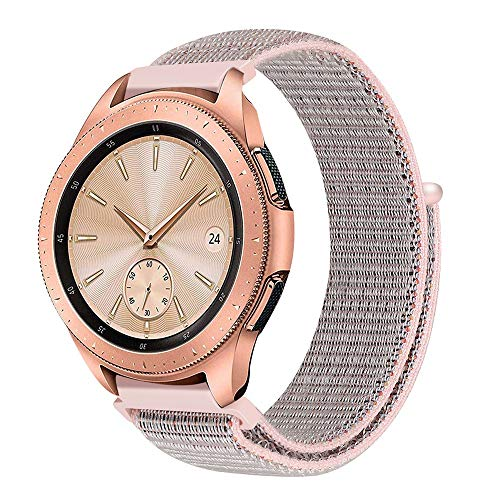 Bascar Armband für Samsung Galaxy Watch ❤️ Nylon Armband,Kratzfest Wasserdicht Herren Damen Universal Armbänder Strap Band für Samsung Gear Fit2 Pro (Rosa)