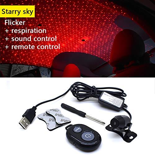 Auto Atmosphäre Projektorlichter Fernbedienung Scheinwerfer Stimmenkontrolle, USB Fit All Cars Decke Dekoration Innere Atmosphäre Umgebungs Beleuchtung (Stern Lampe) -