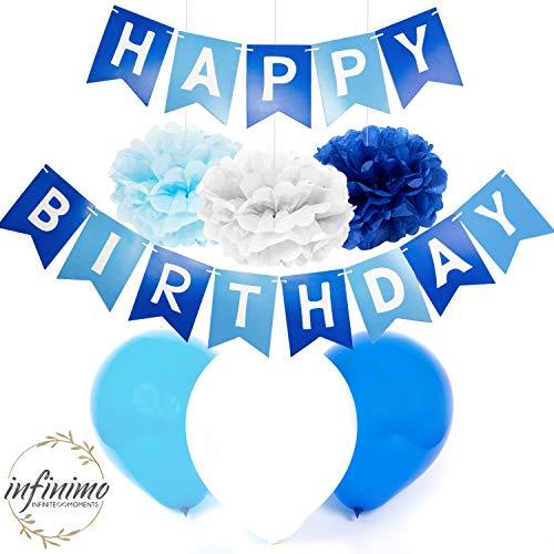 infinimo Geburtstagsdeko Blau Weiß ✮ Happy Birthday Partydeko mit vorgefädelter Girlande + Luftballons + Pompoms ✮ für Geburtstag und Party