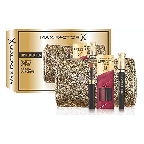 Max Factor confezione regalo Rossetto Lipfinity 70 Spicy, Mascara Lash Crown e beauty case in omaggio