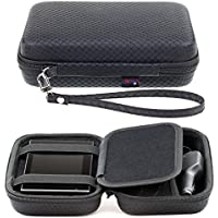 Digicharge® Black Hard Carry Case For Garmin Drive 52 50LM 51 LMT-S 40LM DriveAssist 50LMT-D 51 DriveSmart 55 50 50LMT-D 51 DriveLuxe 50LMT-D 51LMT-S Nuvi 57 5'' GPS Sat Nav With Accessory Storage & Lanyard