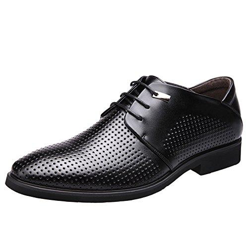 nihiug Brown Leder Schuhe Für Männer Tan Slip Auf Büro Lace-up Atmungsaktiv Hohlen Tipps Business-Anzüge Herrenschuhe,Black-39