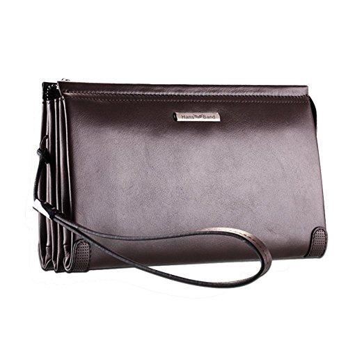 H&W Clutch Leder Unterarmtasche Handgelenktasche Geldbörse Portemonnaie für Herren Braun #18