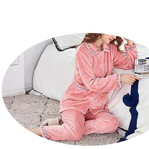 JZX Women's Flannel Plus Velvet Warm Suit Pajamas,Poudre,M