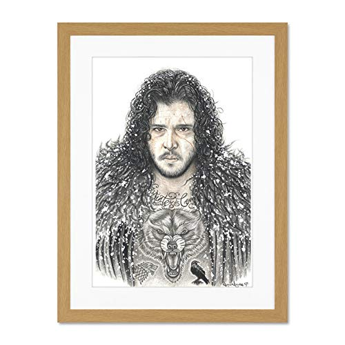 Wayne Maguire Tattooed Jon Snow Inked Ikon Large Art Print Poster Wall Decor 18x24 inch Supplied Ready to Hang with Included Mount Brackets Schnee Große Kunst Wand Deko -