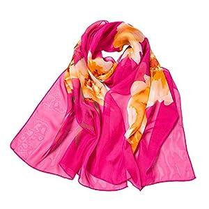 Pink Rosa Floral Scarves,BaojunHt Soften Graceful Lightweight Shawls Laddies Stylish Scarf
