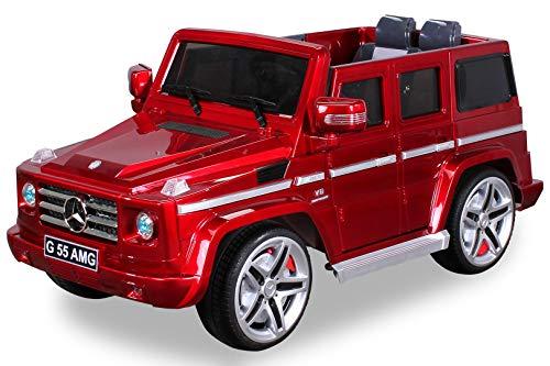 Actionbikes Motors Kinder Elektroauto Mercedes Benz AMG G55 High Door Lackiert - 2 x 35 Watt Motor - Mp3 - 2 Personen - Rc Fernbedienung - Elektro Auto für Kinder ab 3 Jahre (rot Lackiert)