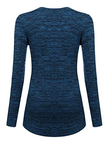 HOTOUCH Damen Pullover V-Ausschnitt Pulli Tunika Langarm Bluse Basics T-Shirt Shirt Typ1-Blau