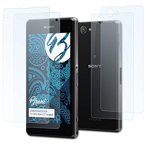 Bruni Schutzfolie für Sony Xperia Z1 Compact Folie, glasklare Bildschirmschutzfolie (2er Set)