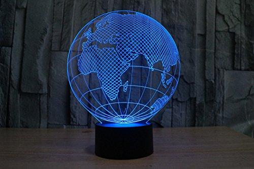 Lampe 3D ILLUSION Lichter der Nacht, kingcoo 7Farben LED Acryl Licht 3D Creative Berührungsschalter Stereo Visual Atmosphäre Schreibtischlampe Tisch-, Geschenk für Weihnachten, Kunststoff, Globe Européen 0.50 wattsW - 2