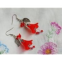 Boucles d'oreilles fleurs rouges, avec petits cristaux Swarovski Elements, le petit chaperon rouge / gothique / bijoux fleur rouge / tulipes / fleurs du printemps / féerique / dark mori / vampir / Reine des Fées / elfique / cadeaux pour filles