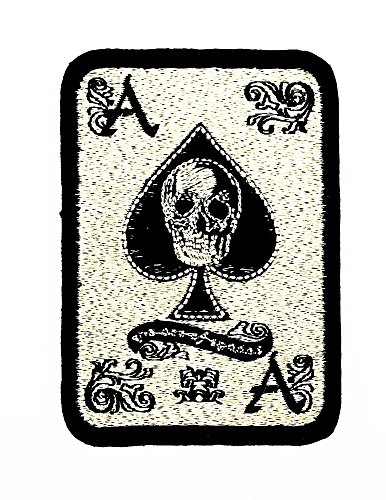 rabana Gold Skull Ace Karte Glücksspiel Gewinner Spielkarten Casino Las Vegas Patch Kinder Cute Animal Patch für Heimwerker-Applikation Eisen auf Patch T Shirt Patch Sew Iron on gesticktes Badge Schild Kostüm (Card Playing Applique)