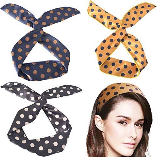 BEIFON 3pcs Bandeau Cheveux Oreille de Lapin Bande de Cheveux à Pois Polka Dot Multifonction Headband avec Fil Flexible Noué Noeud Accessoires Cheveux pour Femmes Filles (motif pois, noir+jaune+bleu)