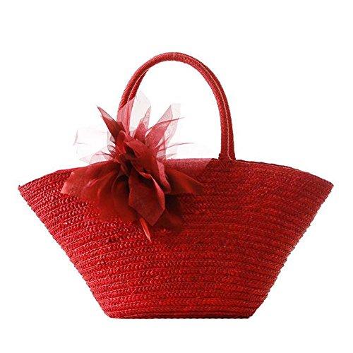 JOMNM Sommer Natural Straw Gewebe Aus Mit Großen Blumen Umhängetasche/Mädchen Süß Sea Beach Tote Reisen Handtasche. Rot