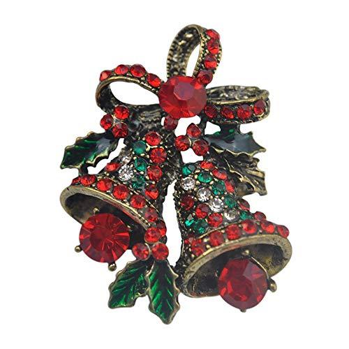 Zuiaidess Broschen Anstecknadeln Für Damen,Xmas Bell Vintage Red Diamond Brosche Pin Schmuck Frauen
