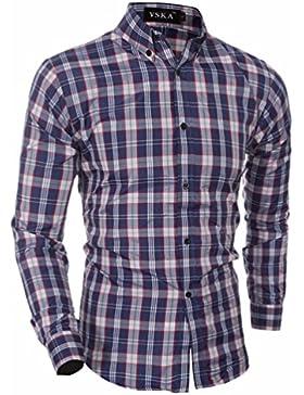 Los hombres Plaid camisas manga pequeña cuadrícula Hombres camiseta de manga larga, formando el Sau San