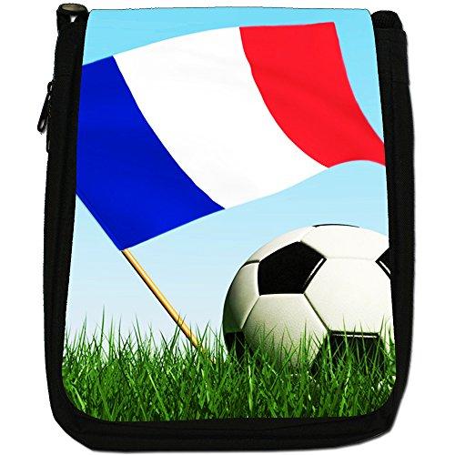 &, motivo: bandiera inglese con pallone da calcio, colore: nero, Borsa a tracolla in tela, colore: nero, taglia: M Nero (France Flag with Football)