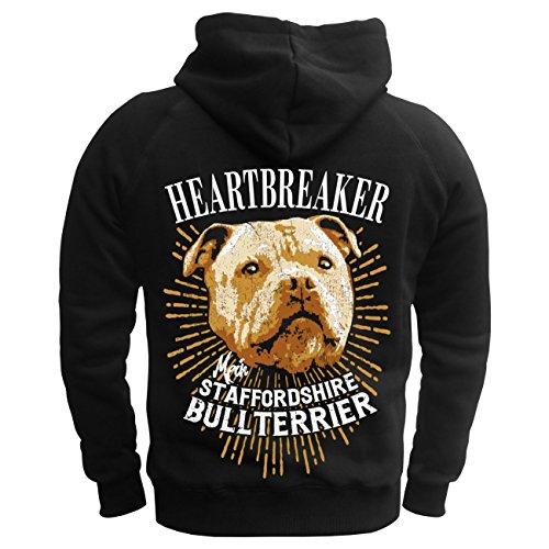 Männer und Herren Kapuzenpullover Staffordshire Bullterrier - Heartbreaker (mit Rückendruck) schwarz/gelbe Kapuze
