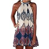 SUNNOW▒ NEU Damen Kleider Miniklei Sexy Partykleid modisch beil▒ufig loses Blumen gedruckt ▒rmellos Frauen Sommerkleid Strandkleid,Mehrfarbig,EU 38 (M)
