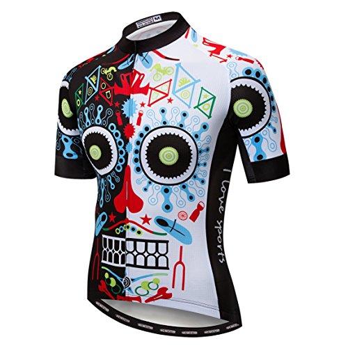 Radfahren Jersey Männer Fahrrad Jersey Fahrrad Sport Top Breathable Team Mountain Road MTB Trikot Kurzarm Sommer Racing Shirts Schädel bunt Größe L