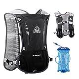 TRIWONDER Hydration Pack Rucksack 5L Marathoner Laufrennen Trinkweste (Schwarz - mit 1.5L Wasserblase)