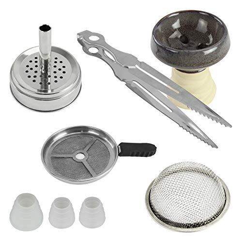 AMO Shisha Kopf Set - Wasserpfeifen Kopfset: Kaminaufsatz, Sieb, Steinkopf mit Keramikglasierung, Zange, 3 Dichtungen
