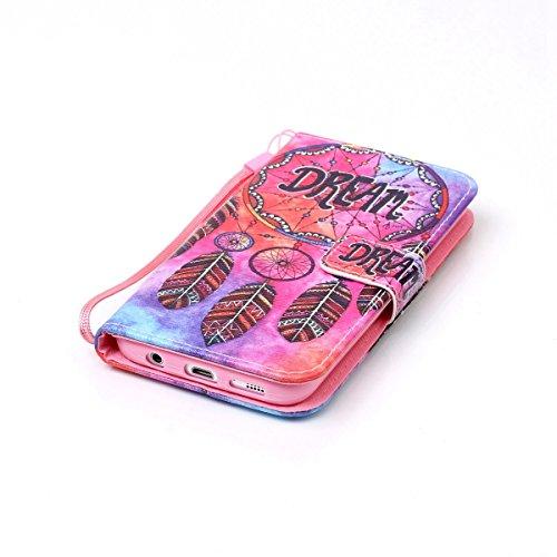 SainCat Cover iPhone 5 / 5s / SE,Fashion Design Dipinto Stand Intelligente Pelle PU Flip Stare Supporto Cover Case Caso,Elegante Pieghevole Capovolgere Leather Copertinat Caso Con Porta Carte Di Credi sognare