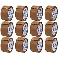 9Cube - 12 rollos de cinta de embalaje marrón - fuerte, resistente y segura cinta adhesiva para grandes paquetes y cajas.