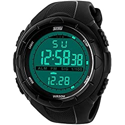 SKMEI Men Military LED Digital Display Waterproof Outdoor Sports Quartz Wristwatch Black