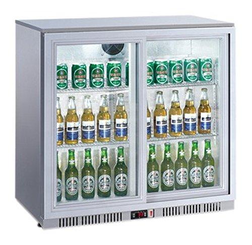 Flaschenkühlschrank mit 2 Schiebetüren Kühlschrank Getränkekühlschrank Gewerbekühlschrank 208 Liter Gastrokühlschrank - Kühlschrank Mit 2 Schiebetüren