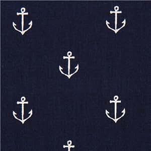 Tissu esprit marin Michael Miller bleu marine et des ancres
