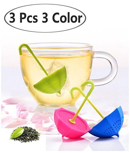 DoubleVillages Tè Infusore Te Infusore / Tè filtro / Te filtro /Tea infuser /Colino da tè Per la Tazza,Mug / Per il Tè sfuso / sfera di tè / tè colino / filtro del tè -3Pack Ombrello Silicone