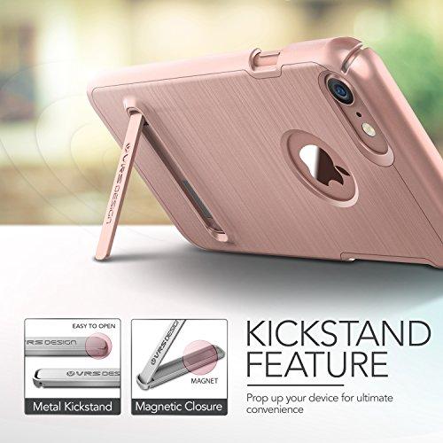 iPhone 7 Hülle, VRS Design [Simpli Lite Serie] Minimalistisch Schlanke und Schwerlast Schutz mit Klappständer für Apple iPhone 7 2016 - Satin Silber Rosa Gold